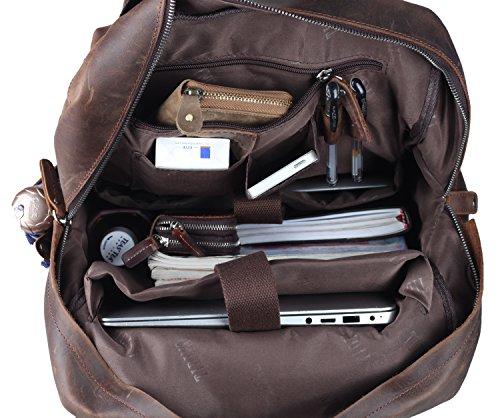 Polare Mens Handcrafted Real Leather Vintage Laptop Backpack Shoulder Bag Travel Large Vachon Studio