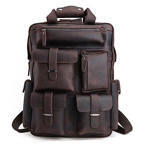 01133091b577 Tiding Mens Retro Full Grain Genuine Leather 17 Inch Laptop Backpack Multi  Pockets Large Capacity Shoulder Bag Travel Bag Dark Brown